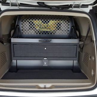 Spare tire access with full gear storage